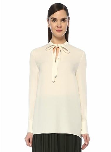 Valentino Valentino  Yakası Bağcıklı İpek Bluz 101487111 Beyaz